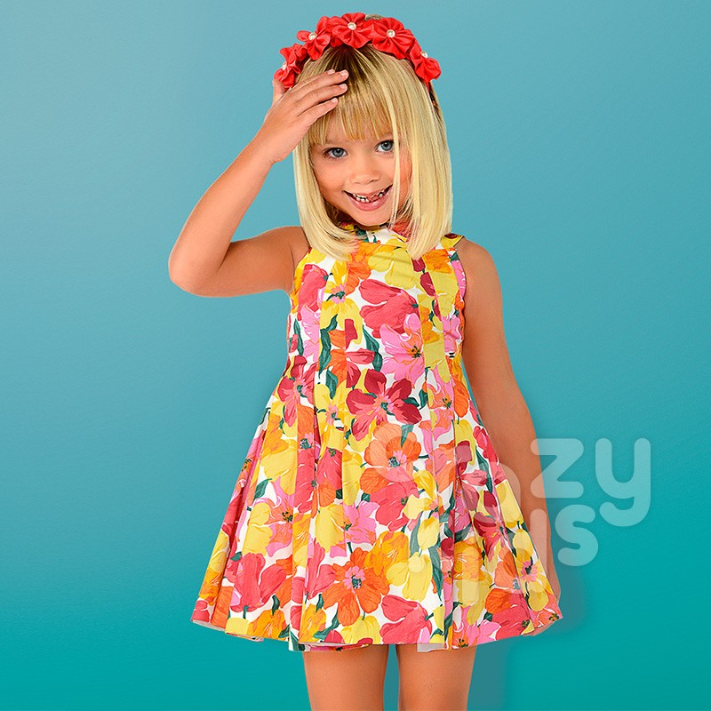 Girls Pleated Floral Dress Mayoral