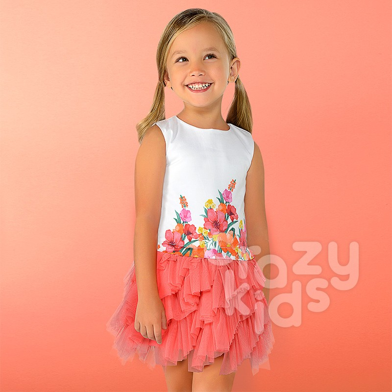 Kids Mixed Tulle Dress Mayoral