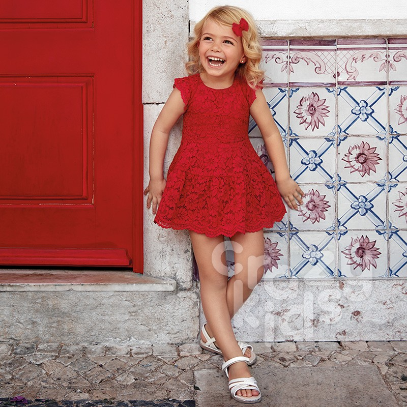 Kids Lace Overlay Dress Mayoral