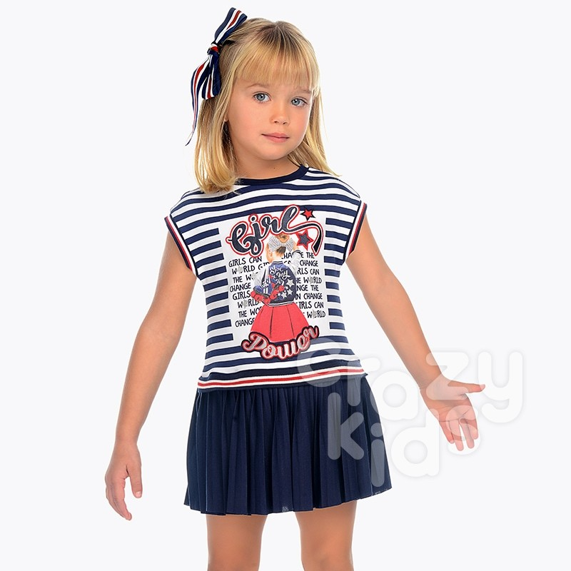 Girls Combined Pleated Dress Mayoral