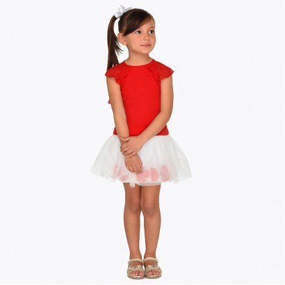 Girls Top and Tulle Petal Skirt Set Mayoral