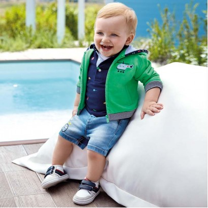 Baby Boys Printed Denim Shorts Mayoral