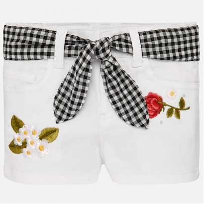 Baby Embroidered Belted Shorts Mayoral