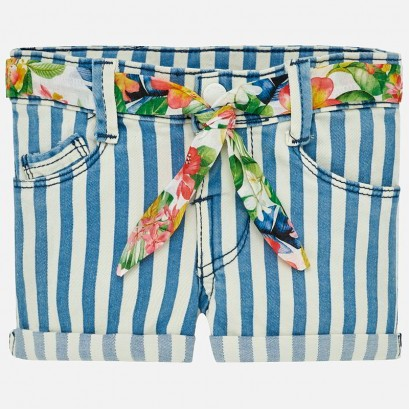 Baby Girls Belted Striped Shorts Mayoral
