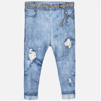 Baby Girl Applique Ripped Jeggings Mayoral