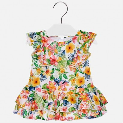 Baby Tropical Print Dress Mayoral
