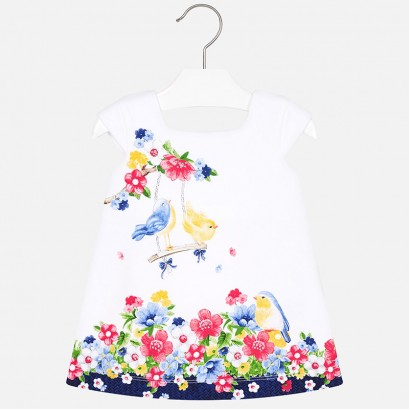 Baby Printed Square Neck Dress Mayoral