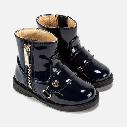 Baby Girls Patent Leather Ankle Boots Mayoral