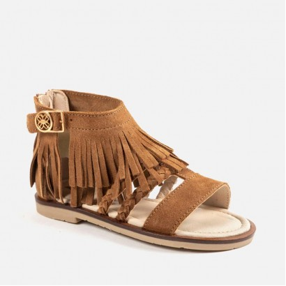 Girls Leather Fringe Sandals Mayoral