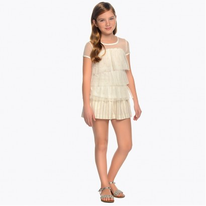 Girls Knotted Striped Shorts Mayoral