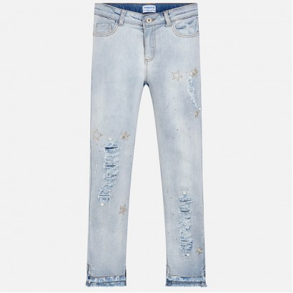 Girls Embroidered Denim Trousers Mayoral