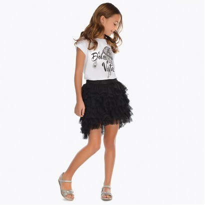 Kids Ruffled Tulle Skirt Mayoral