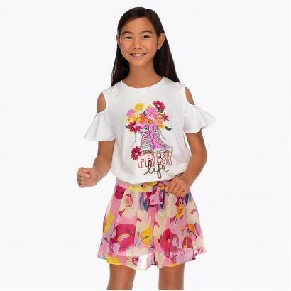 Kids Floral Printed Skirt Mayoral