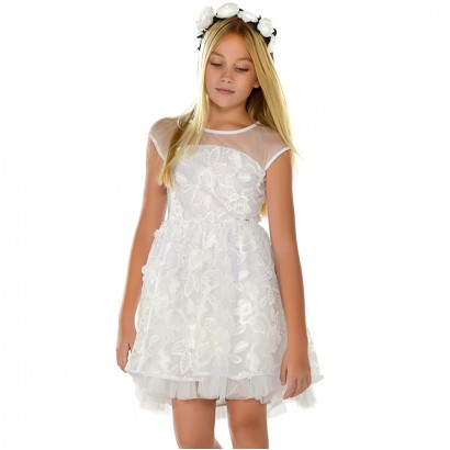 Kids Embroidered Tulle Dress Mayoral